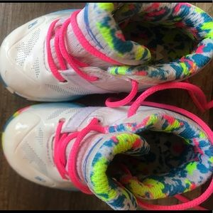 Toddler sz 5 White, Hot Pink, and Blue UA Hi Tops